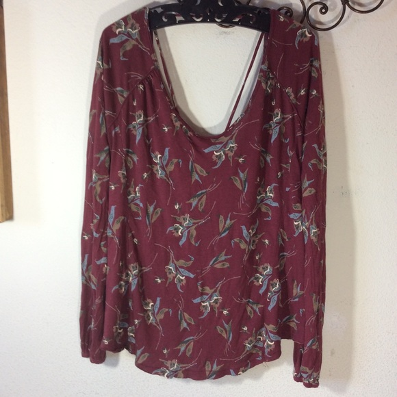 Free People Tops - Free People Autumn Maroon Floral Flowy Blouse
